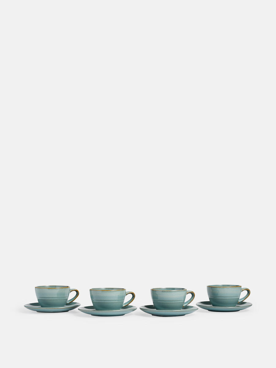 Country House Flat White Cup And Saucer Set Of Four Soho Home