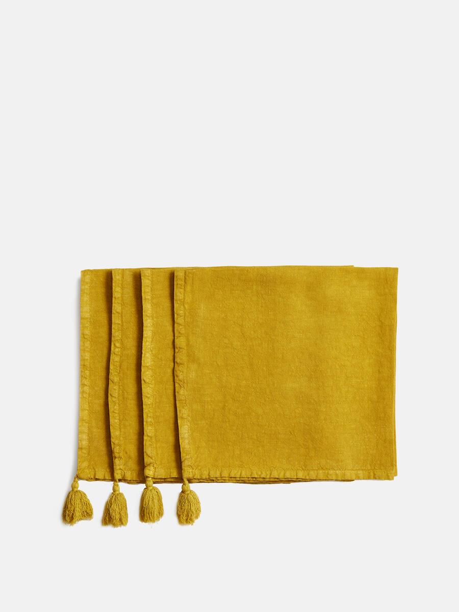 Mustard yellow linen napkin set of 4